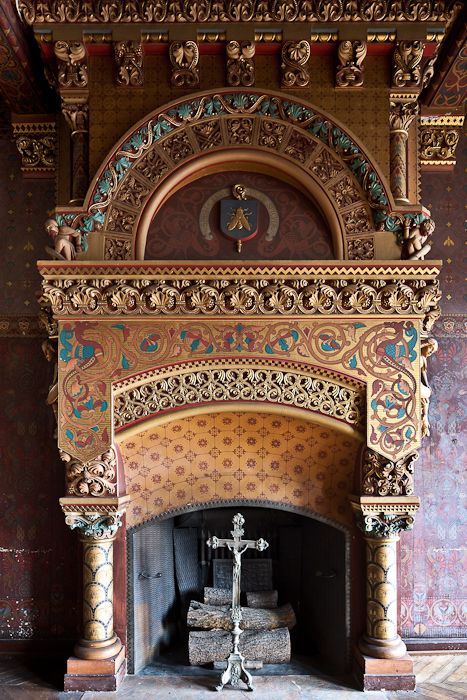 Fireplace detail, Library, Palais du Tau, Angers (Maine-et-Loire)  Photo by PJ McKey