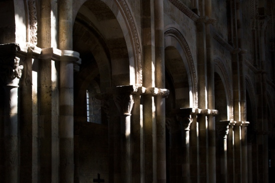 Nave capitals at twilight, Basilique Sainte Madeleine, Vézelay (Yonne) Photo by Dennis Aubrey