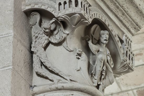 Temptation capital detail, Église Saint Martin, Plaimpied-Givaudins  (Indre)  Photo by Dennis Aubrey