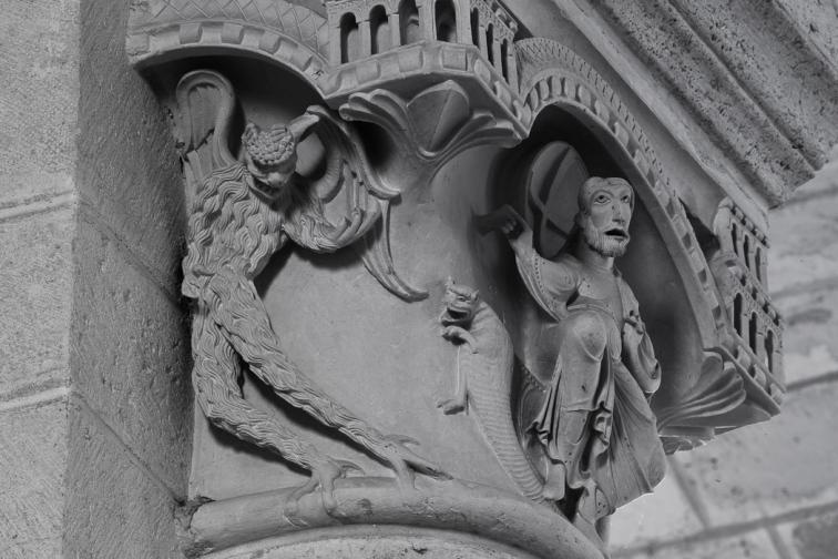 Temptation capital detail, Église Saint Martin, Plaimpied-Givaudins  (Cher)  Photo by Dennis Aubrey