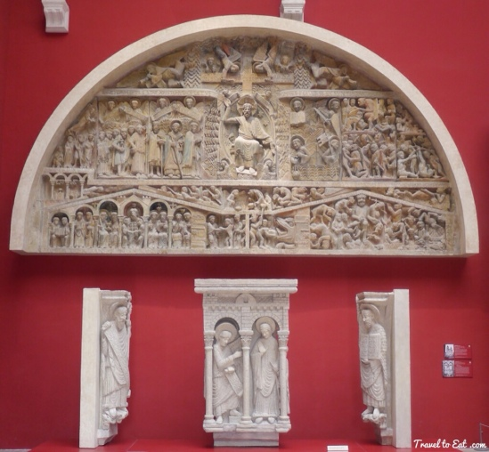 "Reproduction of tympanum, Basilique Sainte Foy, Conques (Aveyron)  Photograph from ""Travel to Eat"" blog"