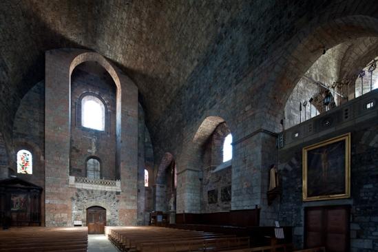 Nave from choir, Église Saint-Georges, Saint-Paulien (Haute-Loire)  Photo by Dennis Aubrey