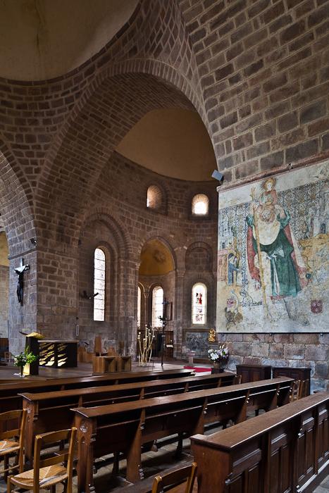 Transept pillar with painting of Saint Christopher, Abbatiale Saint Pierre et Saint Paul, Solignac (Haute-Vienne) Photo by PJ McKey