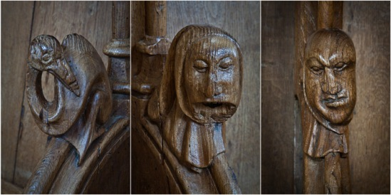 Choir stall details,  Abbatiale Saint Pierre et Saint Paul, Solignac (Haute-Vienne) Photo by PJ McKey