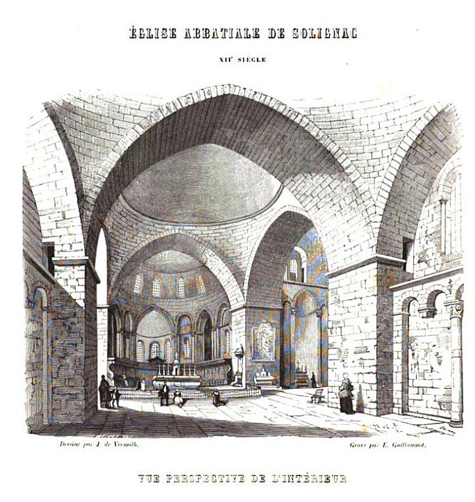 View of Abbaye de Solignac, drawing by Jules de Verneilh (c. 1860)