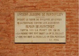 Plaque commémorant la mort de Simon de Montfort au 35 allées Jules Guesde à Toulouse – photo internet