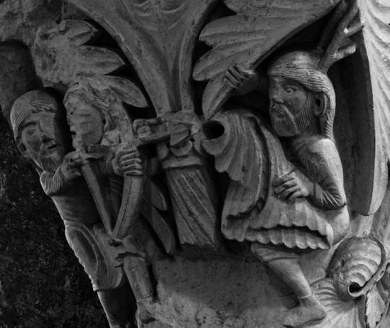 Lamech and Cain detail, Basilique Sainte Madeleine, Vézelay (Yonne)  Photo by Dennis Aubrey