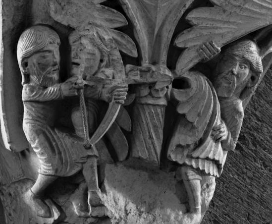 Capital - Lamech and Cain, Basilique Sainte Madeleine, Vézelay (Yonne)  Photo by Dennis Aubrey