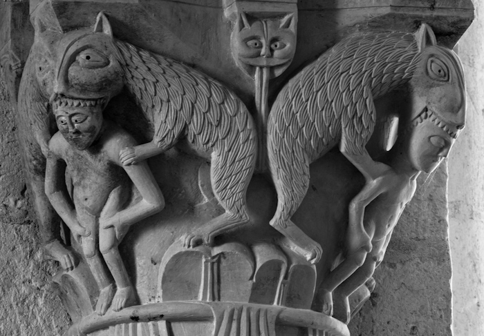 Rending beasts, Église Saint Martin, Plaimpied-Givaudins (Cher)  Photo by Dennis Aubrey