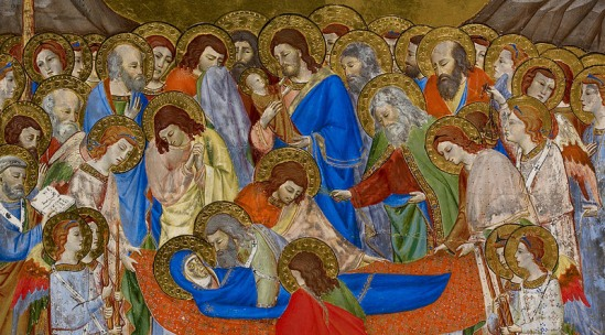 Detail from Add MS 37955 A: a miniature of the Death and Assumption of the Virgin Mary, British Library