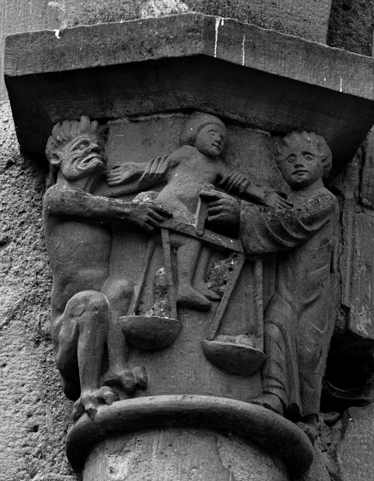 Capital - Weighing of souls, Abbaye Saint-Pierre du Vigeois, Vigeois (Corrèze) Photo by Dennis Aubrey
