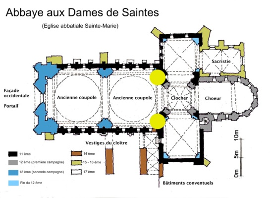 Plan, Abbaye Sainte Marie aux Dames, Saintes (Charente-Maritime)