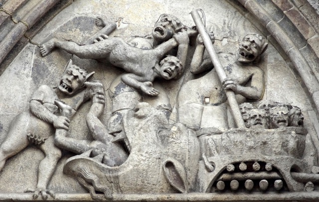 Detail of facade sculpture, Cattedrale di San Giorgio Martire, Ferrara (Emilia-Romagna)  Photo by John McKean