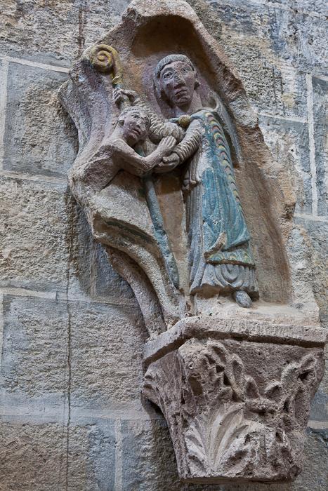 Detail, Bishop's tomb, Église Saint Gilles, Chamalières-sur-Loire (Haute-Loire) Photo by PJ McKey