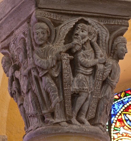 Capital - Angel rebukes Joseph, Église Notre Dame du Port, Clermont-Ferrand (Puy-de-Dôme)  Photo by Dennis Aubrey