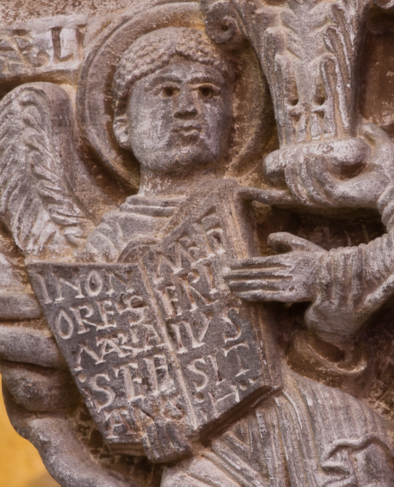 Detail of capital - Stefanus donates a capital, Église Notre Dame du Port, Clermont-Ferrand (Puy-de-Dôme) Photo by Dennis Aubrey