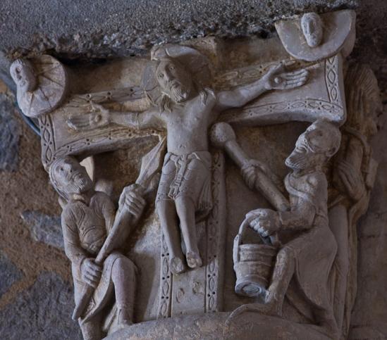 Capital – Crucifixion, Église Saint-Étienne, Lubersac (Corrèze) Photo by Dennis Aubrey