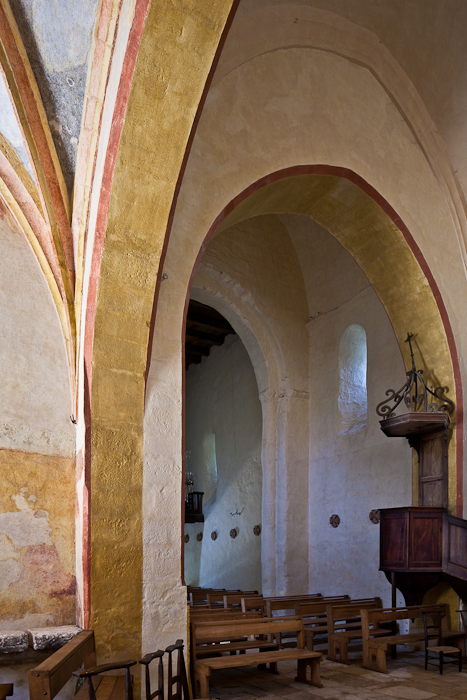Nave from transept, Église Saint-Martin, Besse (Dordogne) Photo by PJ McKey