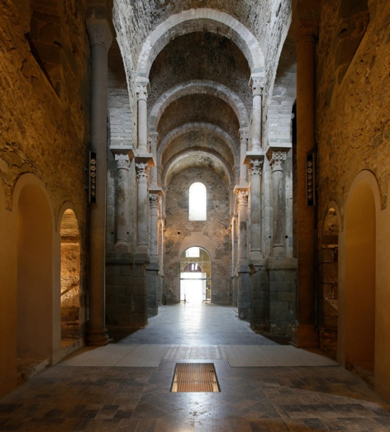 View of nave to west, Sant Pere de Rodes, El Port de la Selva (Girona) Photo by Jong-Soung Kimm