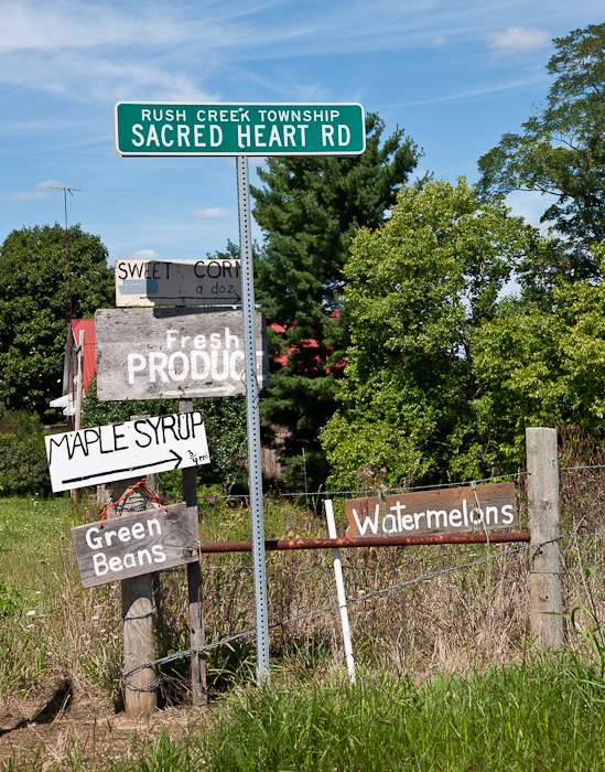 Farm stand advertising on Sacred Heart Road - photo by Dennis Aubrey