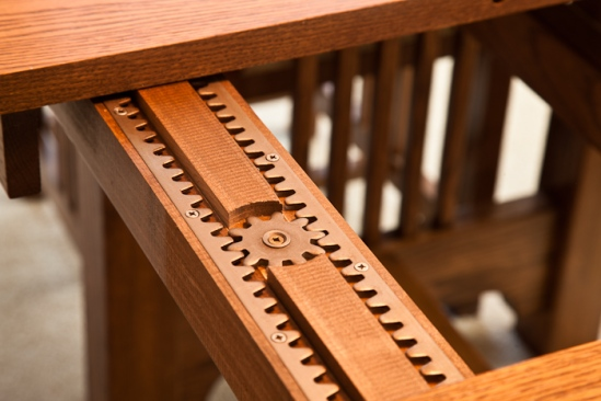 Dining room table slide detail, photo by Dennis Aubrey