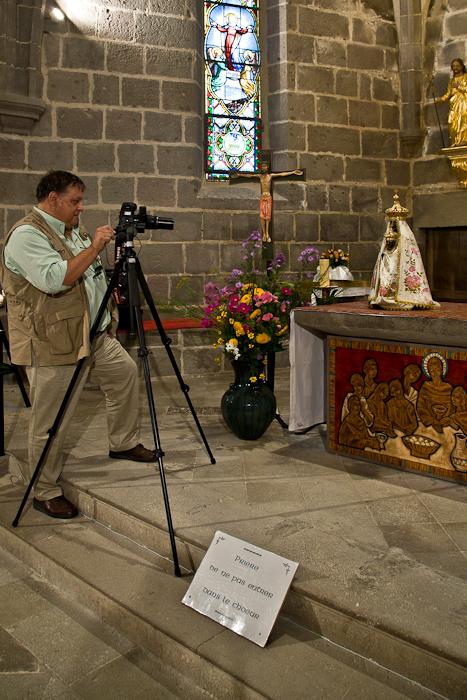 Dennis photographing Notre Dame de Vassivière,  Photo by PJ McKey