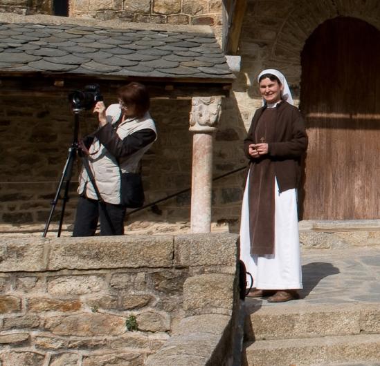 PJ and Sister Anne-de-Jésus, Abbaye de Saint-Martin du Canigou, Casteil (Pyrénées-Orientales)  Photo by Dennis Aubrey